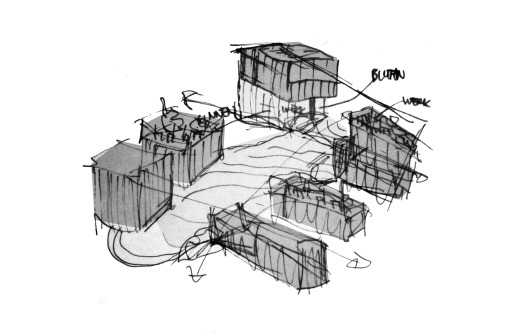 Sketch aula with organic stairs